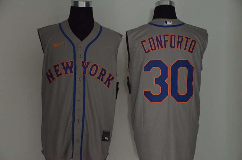 Men's New York Mets #30 Michael Conforto Grey 2020 Cool and Refreshing Sleeveless Fan Stitched MLB Nike Jersey