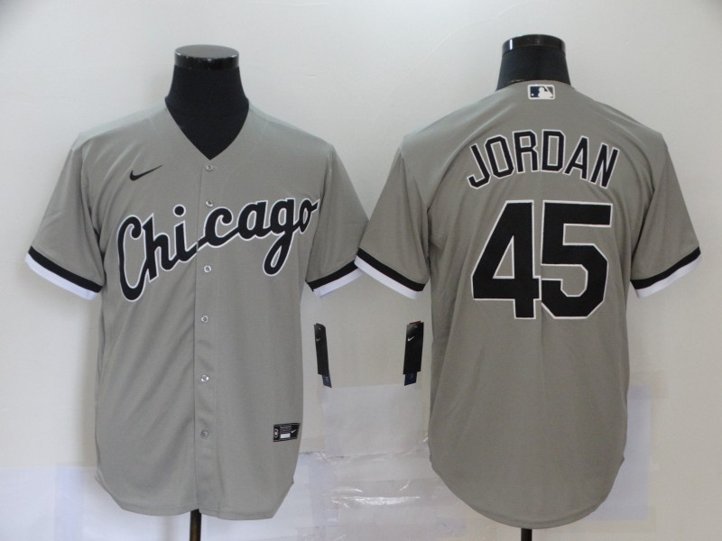 Men's Chicago White Sox #45 Michael Jordan Grey Stitched MLB Cool Base Nike Jersey