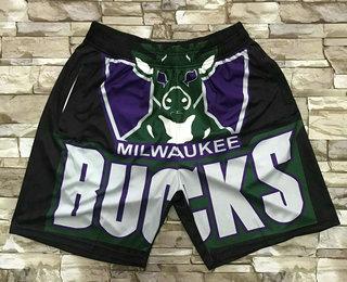 Men's Milwaukee Bucks Black Big Face Mitchell Ness Hardwood Classics Soul Swingman Throwback Shorts