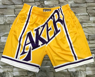 Men's Los Angeles Lakers Yellow Big Face Mitchell Ness Hardwood Classics Soul Swingman Throwback Shorts