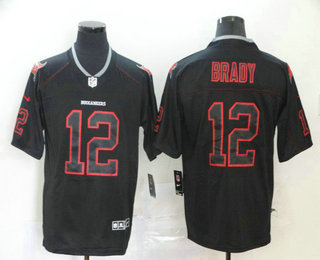 Men's Tampa Bay Buccaneers #12 Tom Brady 2020 Black Lights Out Color Rush Stitched NFL Nike Limited Jersey