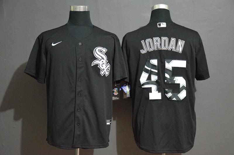 Men's Chicago White Sox #45 Michael Jordan Black Team Logo Stitched MLB Cool Base Nike Jersey