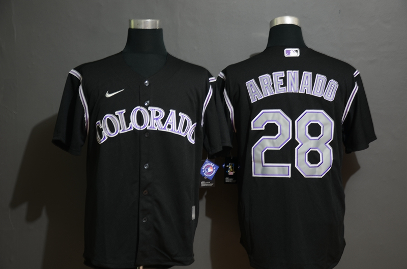 Men's Colorado Rockies #28 Nolan Arenado Black Stitched MLB Cool Base Nike Jersey