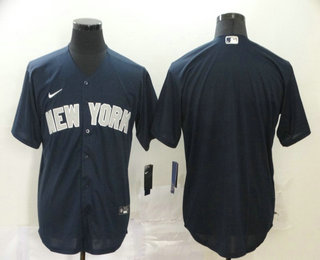 Men's New York Yankees Blank Navy Blue Stitched MLB Cool Base Nike Jersey