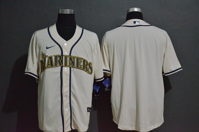 Men's Seattle Mariners Blank Cream Stitched MLB Cool Base Nike Jersey