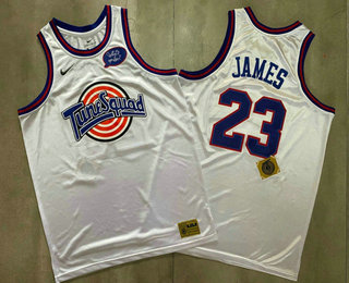 Men's The Movie Space Jam #23 LeBron James White Soul AU Basketball Jersey