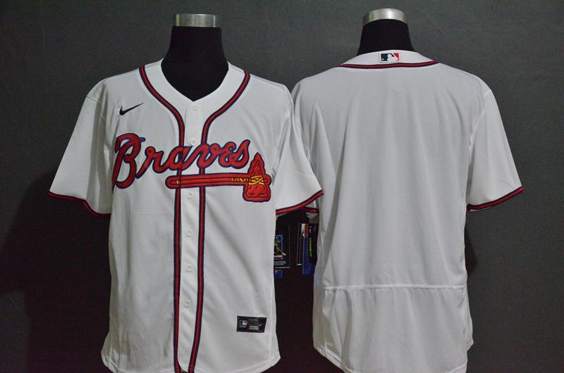 Men's Atlanta Braves Blank White Stitched MLB Flex Base Nike Jersey