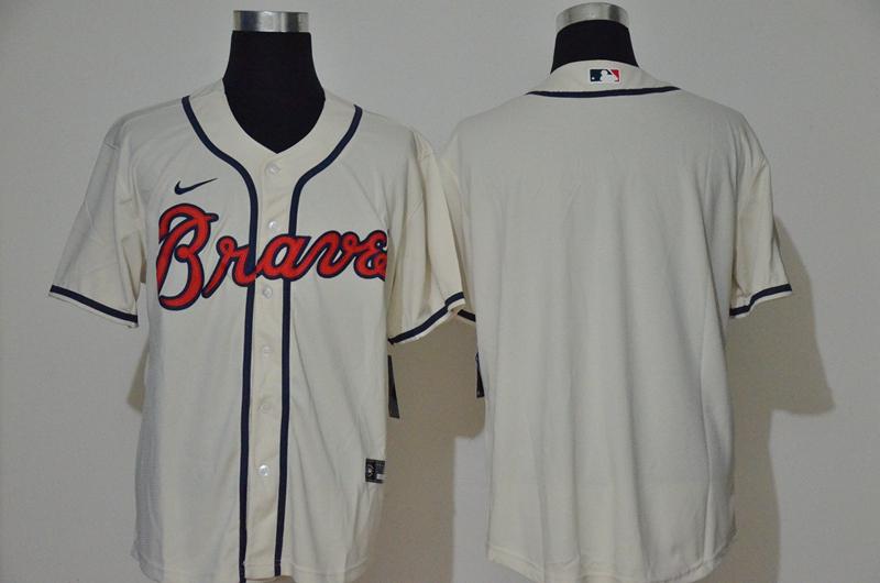 Men's Atlanta Braves Blank Cream Stitched MLB Cool Base Nike Jersey
