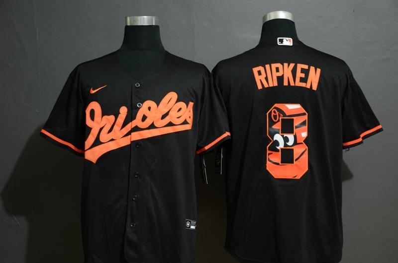 Men's Baltimore Orioles #8 Cal Ripken Jr. Black Team Logo Stitched MLB Cool Base Nike Jersey