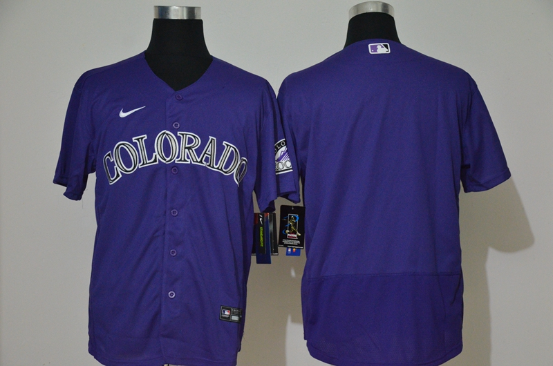 Men's Colorado Rockies Blank Purple Stitched MLB Flex Base Nike Jersey