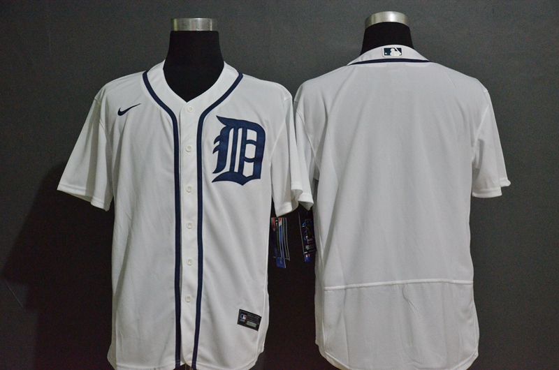 Men's Detroit Tigers Blank White Stitched MLB Flex Base Nike Jersey