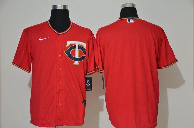 Men's Minnesota Twins Blank Red Stitched MLB Cool Base Nike Jersey