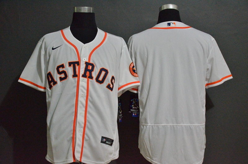 Men's Houston Astros Blank White Stitched MLB Flex Base Nike Jersey
