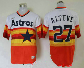 Men's Houston Astros #27 Jose Altuve Orange Rainbow Cooperstown Stitched MLB Cool Base Nike Jersey