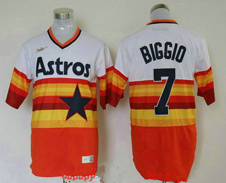 Men's Houston Astros #7 Craig Biggio Orange Rainbow Cooperstown Stitched MLB Cool Base Nike Jersey