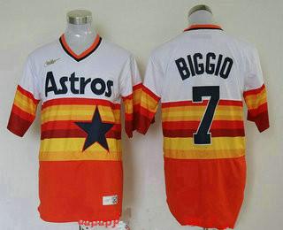 Men's Houston Astros #7 Craig Biggio Orange Rainbow Cooperstown Stitched MLB Cool Base Nike Jersey