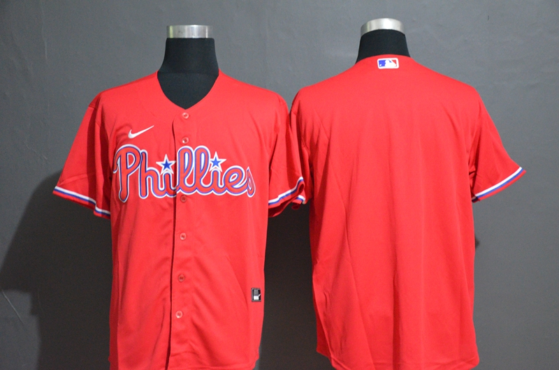 Men's Philadelphia Phillies Blank Red Stitched MLB Cool Base Nike Jersey