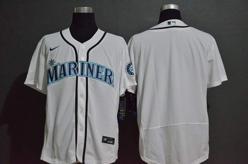 Men's Seattle Mariners Blank White Stitched MLB Flex Base Nike Jersey