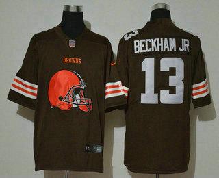 Men's Cleveland Browns #13 Odell Beckham Jr Brown 2020 Big Logo Vapor Untouchable Stitched NFL Nike Fashion Limited Jersey