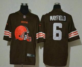 Men's Cleveland Browns #6 Baker Mayfield Brown 2020 Big Logo Vapor Untouchable Stitched NFL Nike Fashion Limited Jersey