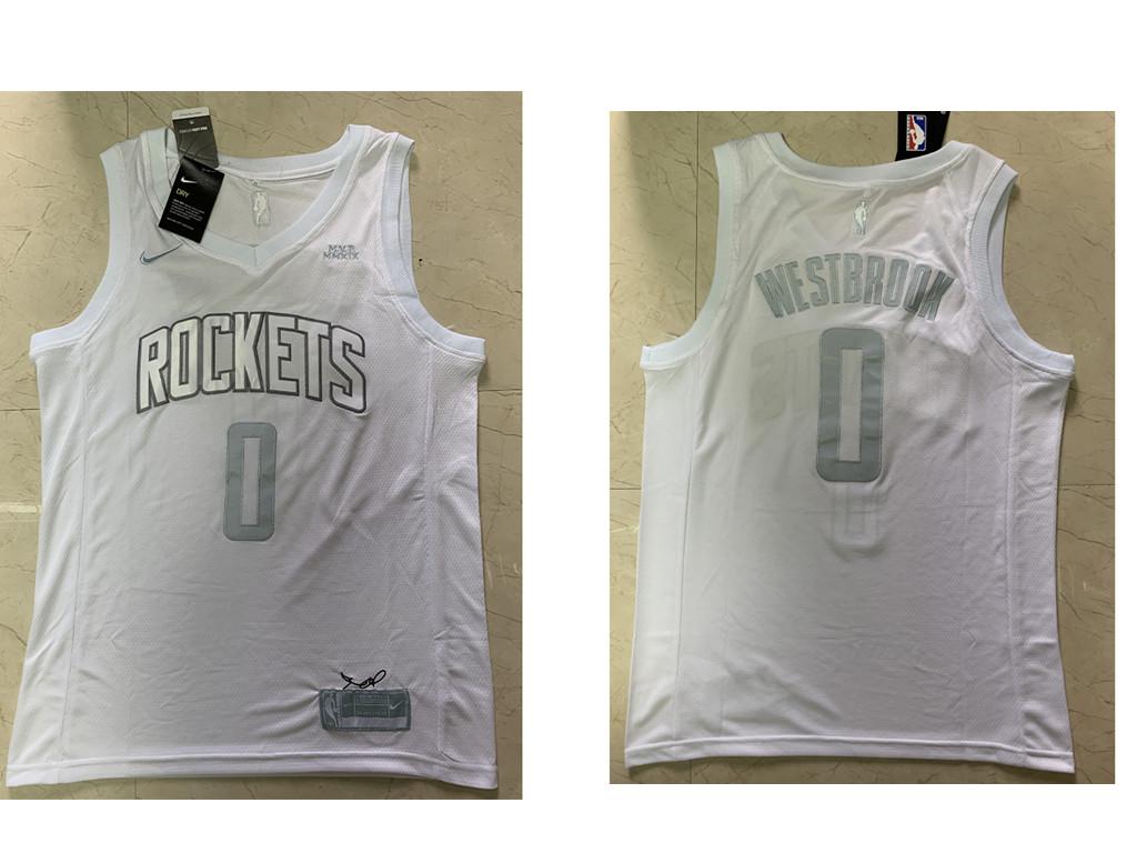 Men's Houston Rockets #0 Russell Westbrook James Harden White 2020 MVP Nike Swingman Stitched NBA Jersey