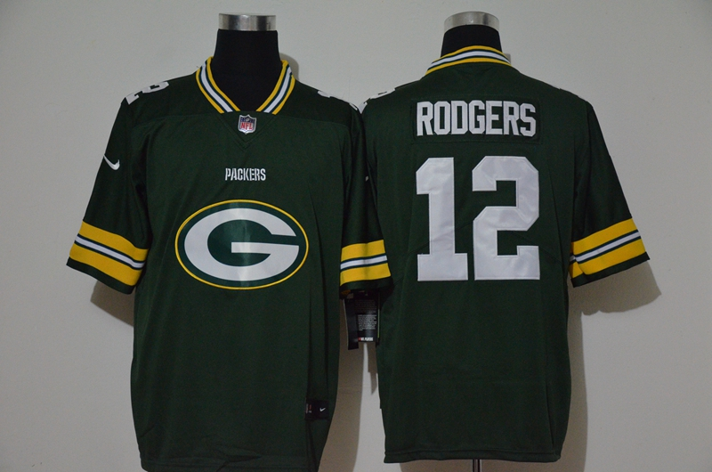 Men's Green Bay Packers #12 Aaron Rodgers Green 2020 Big Logo Vapor Untouchable Stitched NFL Nike Fashion Limited Jersey