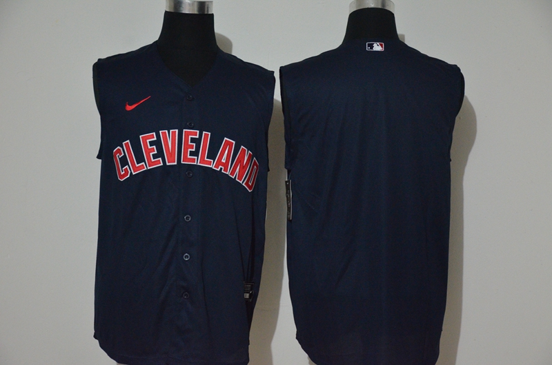 Men's Cleveland Indians Blank Navy Blue 2020 Cool and Refreshing Sleeveless Fan Stitched MLB Nike Jersey
