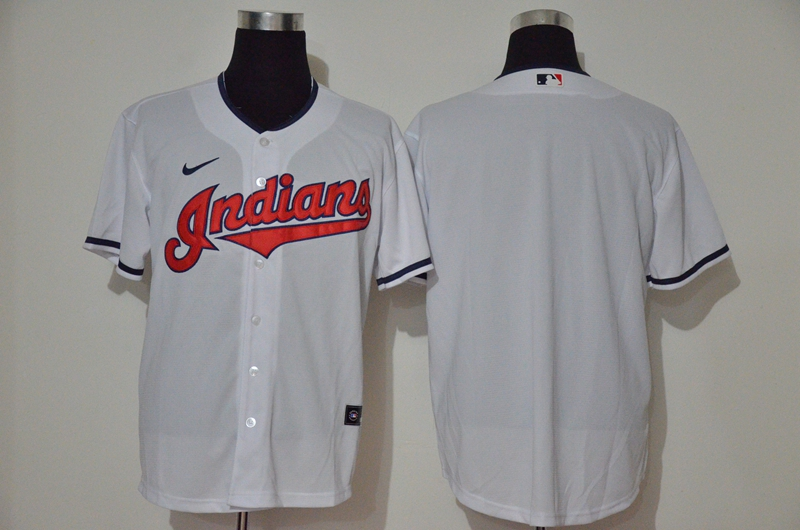 Men's Cleveland Indians Blank White Stitched MLB Cool Base Nike Jersey