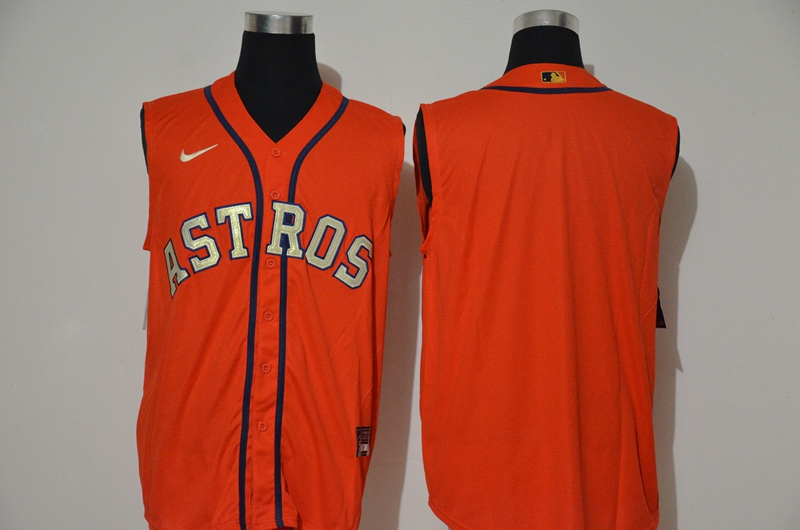 Men's Houston Astros Blank Orange Gold 2020 Cool and Refreshing Sleeveless Fan Stitched MLB Nike Jersey