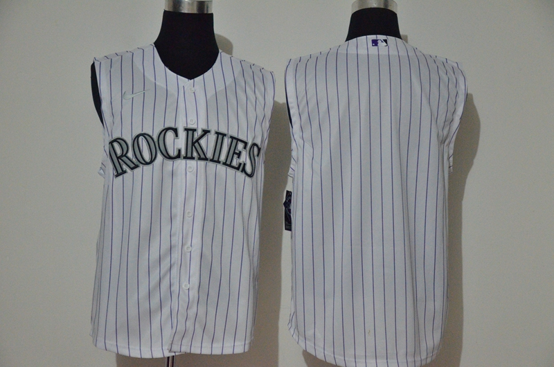 Men's Colorado Rockies Blank White 2020 Cool and Refreshing Sleeveless Fan Stitched MLB Nike Jersey