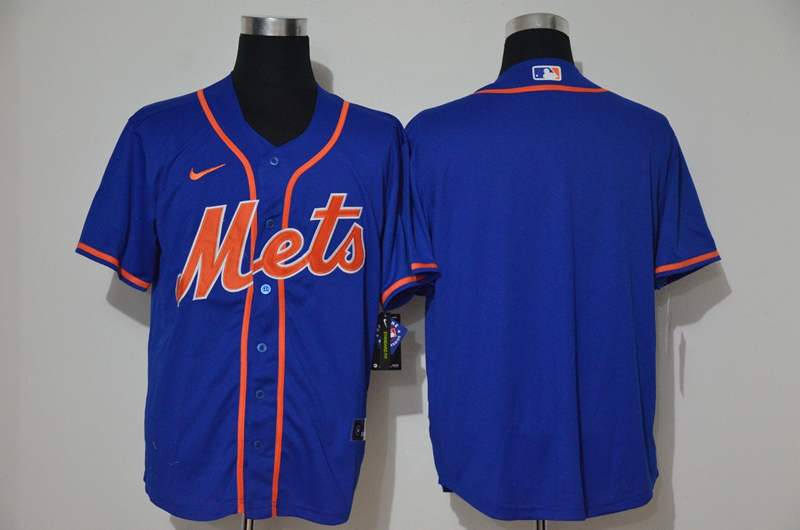 Men's New York Mets Blank Blue Stitched MLB Cool Base Nike Jersey