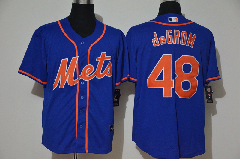 Men's New York Mets #48 Jacob deGrom Blue Stitched MLB Cool Base Nike Jersey