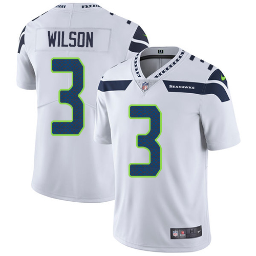 Youth Nike Seattle Seahawks #3 Russell Wilson White Stitched NFL Vapor Untouchable Limited Jersey