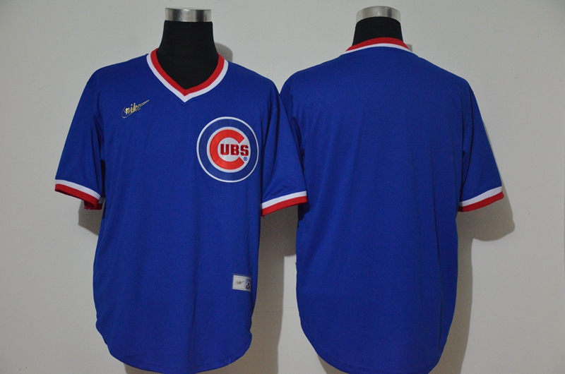 Men's Chicago Cubs Blank Blue Throwback Cooperstown Stitched MLB Cool Base Nike Jersey