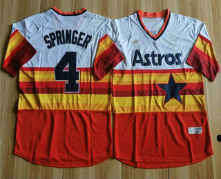 Men's Houston Astros #4 George Springer Orange Rainbow Cooperstown Stitched MLB Cool Base Nike Jersey