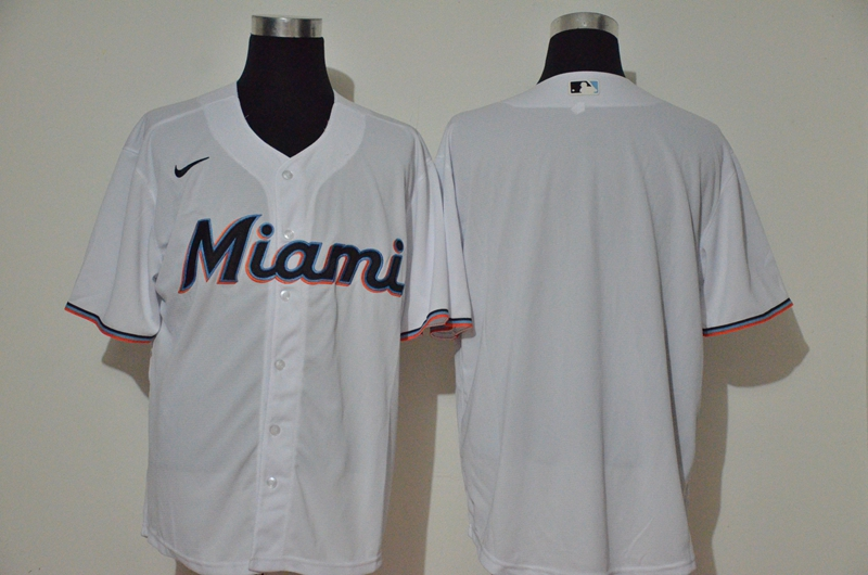 Men's Miami Marlins Blank White Stitched MLB Cool Base Nike Jersey