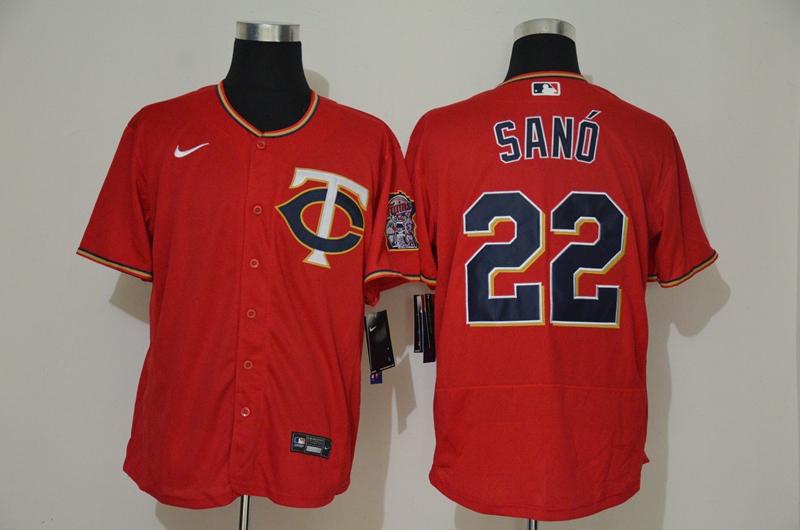 Men's Minnesota Twins #22 Miguel Sano Red Stitched MLB Flex Base Nike Jersey