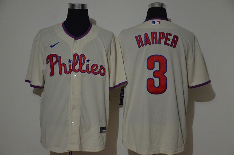 Men's Philadelphia Phillies #3 Bryce Harper Cream Stitched MLB Cool Base Nike Jersey