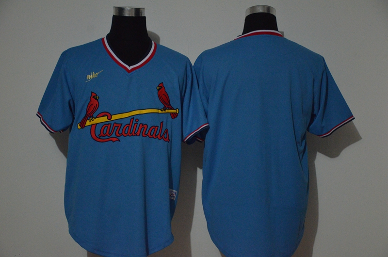 Men's St. Louis Cardinals Blank Light Blue Throwback Cooperstown Stitched MLB Cool Base Nike Jersey