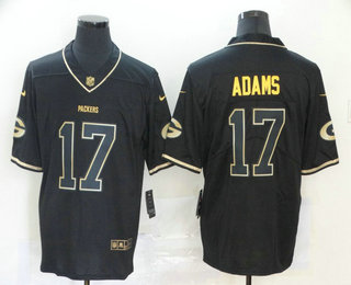 Men's Green Bay Packers #17 Davante Adams Black 100th Season Golden Edition Jersey