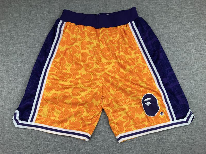 Men's Los Angeles Lakers Mitchell & Ness x BAPE Yellow 1996-97 Hardwood Classics Shorts