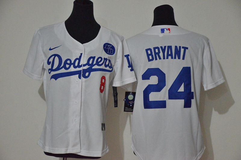 Youth Los Angeles Dodgers #24 Kobe Bryant White KB Patch Stitched MLB Cool Base Nike Jersey