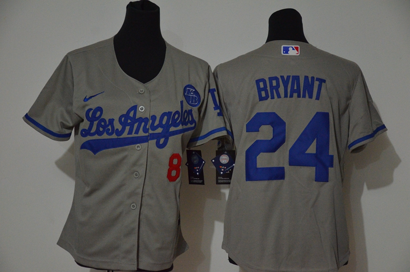 Youth Los Angeles Dodgers #24 Kobe Bryant Grey KB Patch Stitched MLB Cool Base Nike Jersey