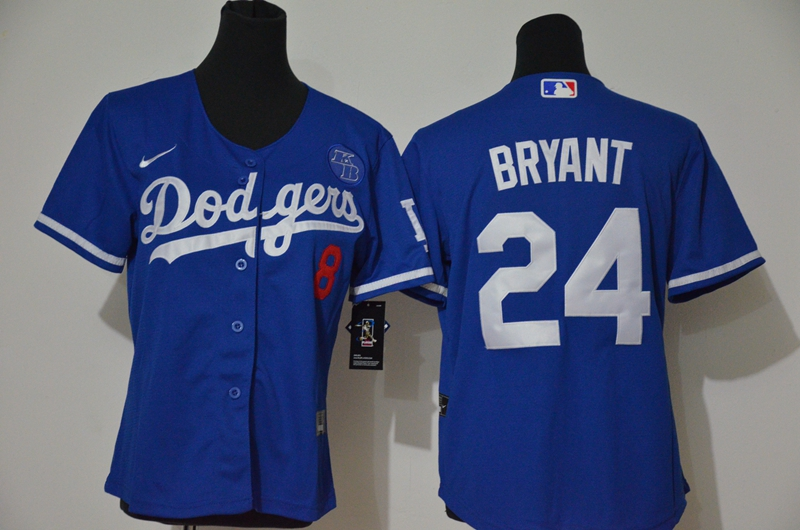 Youth Los Angeles Dodgers #24 Kobe Bryant Blue KB Patch Stitched MLB Cool Base Nike Jersey