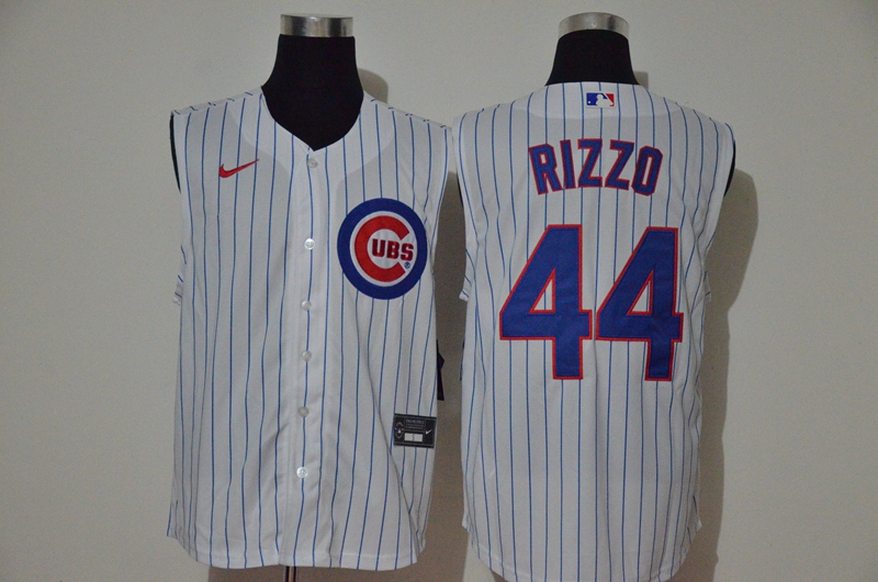 Men's Chicago Cubs #44 Anthony Rizzo White 2020 Cool and Refreshing Sleeveless Fan Stitched MLB Nike Jersey