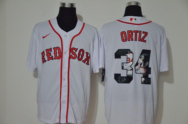 Men's Boston Red Sox #34 David Ortiz White Unforgettable Moment Stitched Fashion MLB Cool Base Nike Jersey