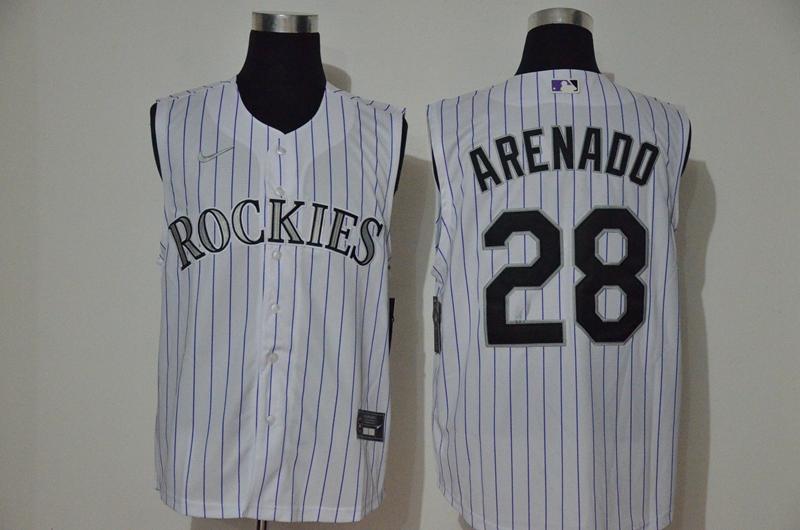 Men's Colorado Rockies #28 Nolan Arenado White 2020 Cool and Refreshing Sleeveless Fan Stitched MLB Nike Jersey