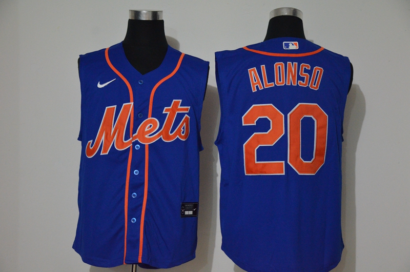 Men's New York Mets #20 Pete Alonso Blue 2020 Cool and Refreshing Sleeveless Fan Stitched MLB Nike Jersey