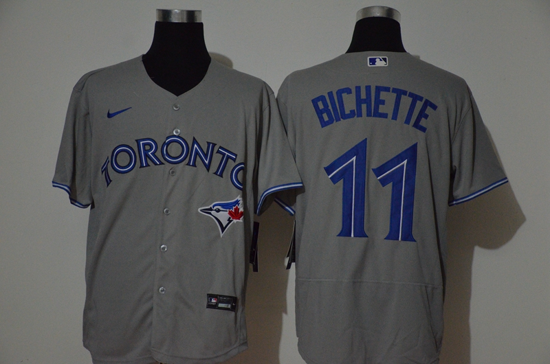 Men's Toronto Blue Jays #11 Bo Bichette Grey Stitched MLB Flex Base Nike Jersey