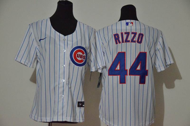 Women's Chicago Cubs #44 Anthony Rizzo White Stitched MLB Cool Base Nike Jersey